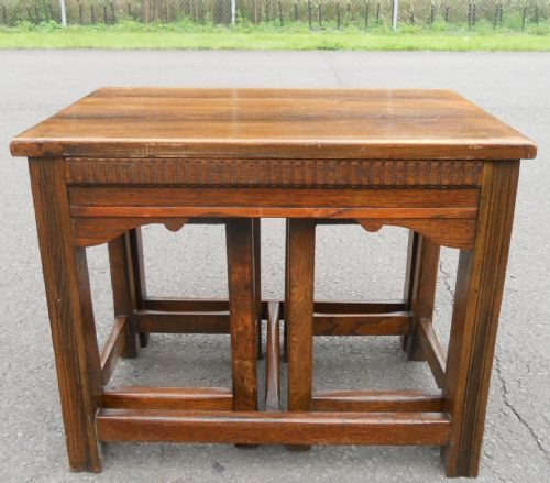 Antique Style Nest of Three Oak Coffee Tables